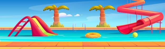 Banner com parque aquático com piscina, toboáguas e palmeiras