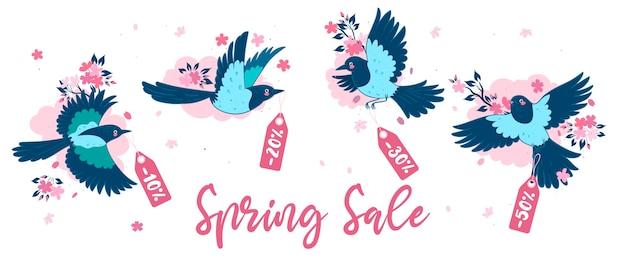 Banner com pega e sakura. liquidação de primavera.