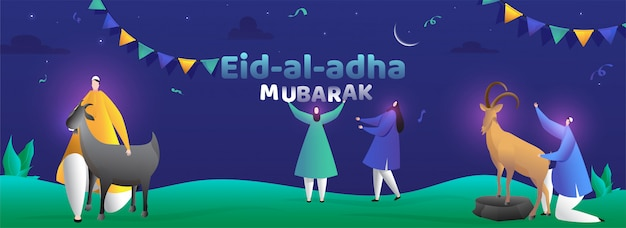 Banner com personagem de desenho animado de pessoas celebrando o festival eid-al-adha mubarak