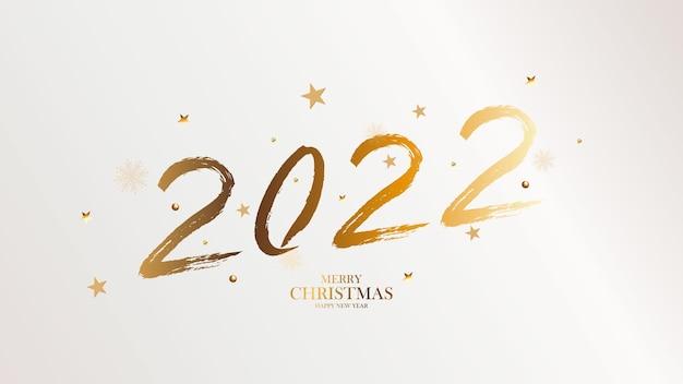 Banner com pincel dourado 2022. fundo de negócios elegante de feliz ano novo. o pincel isolado dá forma a 2021. ilustração em vetor.
