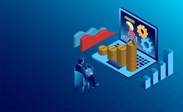 Banner com sucesso de finanças de negócios