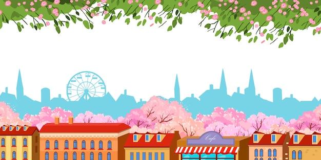 Banner com telhados vermelhos vintage e contorno da cidade grande no fundo.