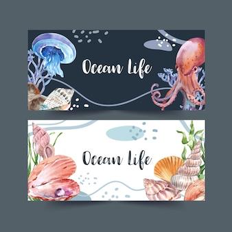 Banner com tema clássico de vida marinha, ilustração criativa em aquarela.