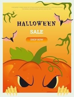 Banner com tema vetorial para o feriado de halloween com uma abóbora malvada que se vê de baixo