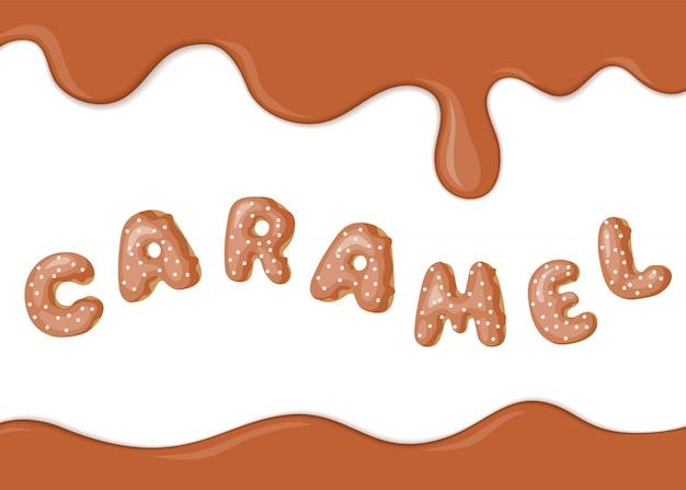Banner com texto de fonte caramelo textura e rosquinhas.