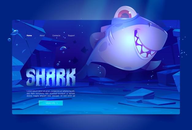 Banner com tubarão feliz debaixo d'água no oceano