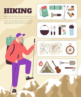 Banner com turista masculino que viaja na montanha e conjunto de acessórios para turismo