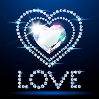 Banner com um coração brilhante e a palavra amor feito de diamantes. ilustração romântica de néon no dia dos namorados. estilo realista ..