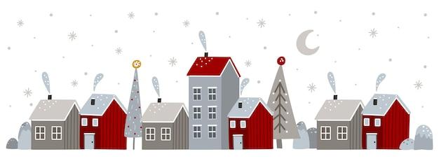 Banner com uma cidade de natal e elementos de inverno