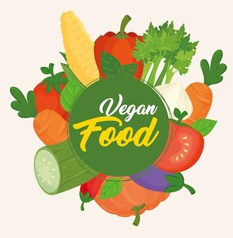 Banner com vegetais, conceito de comida vegana, quadro circular com vegetais
