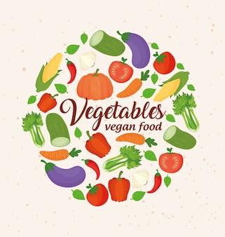 Banner com vegetais, vegetais conceituais e comida vegan, quadro circular com vegetais