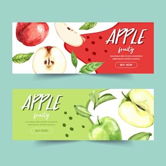 Banner com verde e vários tipos de conceito de maçã, modelo de ilustração com temas coloridos.