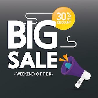 Banner comercial com letras de oferta de grande venda e desconto de trinta por cento