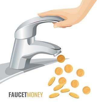Banner comercial de dinheiro de torneira com torneira moderna e moedas de ouro. encanamento sólido conveniente que economiza dinheiro realístico de pôster promocional.