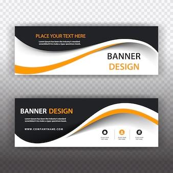 Banner comercial preto e branco com detalhes em laranja
