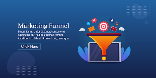 Banner conceitual do funil de marketing