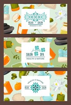 Banner conjunto com elementos de beleza e spa dos desenhos animados