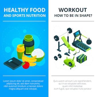 Banner conjunto com equipamentos de ginástica e comida saudável
