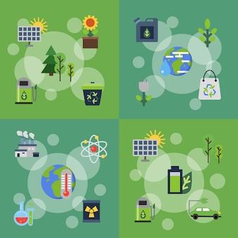 Banner conjunto de ícones plana de ecologia