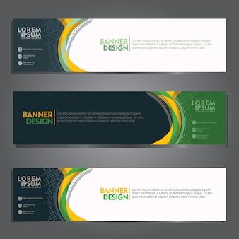 Banner conjunto de modelos com cor verde, amarela futurista e forma geométrica de onda