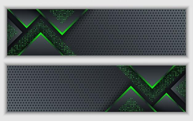 Banner corporativo abstrato verde preto com fundo de tecnologia de brilho néon brilhante