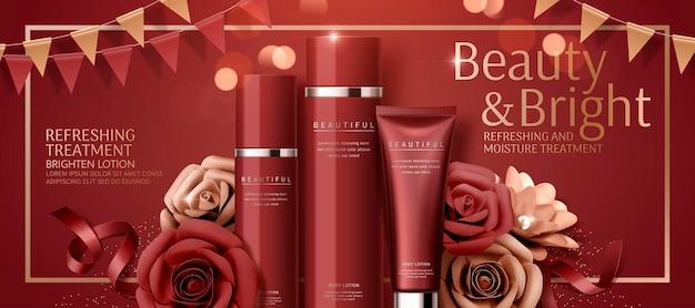 Banner cosmético atraente com rosas de papel