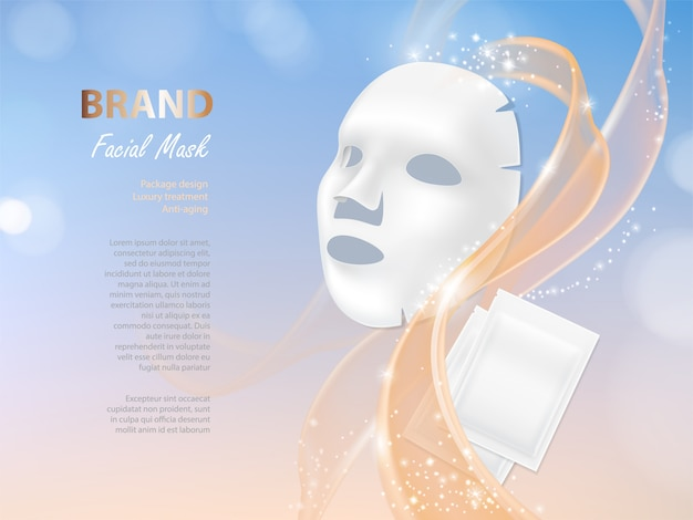 Banner cosmético com 3d máscara facial realista e pacote branco