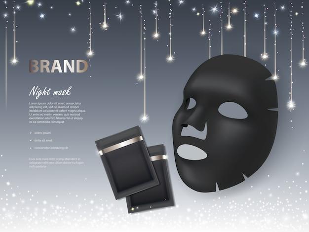 Banner cosmético com máscara facial 3d realista de noite