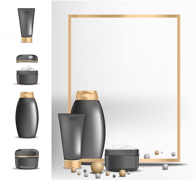 Banner cosmético com moldura de ouro para pacotes de creme e xampu. embalagem moderna para cosméticos em preto com tampa dourada