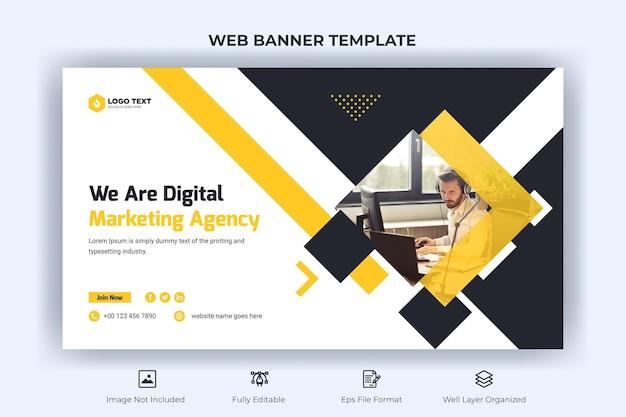 Banner criativo da web de negócios e modelo de miniatura do youtube
