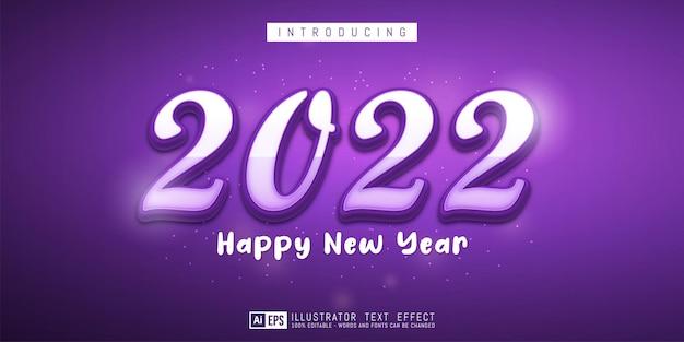 Banner criativo de ano novo com números editáveis de 2022 no tema roxo