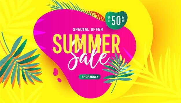 Banner criativo de desconto de verão em cores da moda