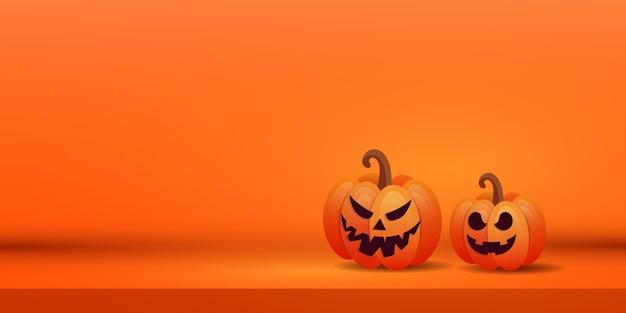 Banner criativo de halloween com duas abóboras assustadoras laranja em fundo roxo. lugar para texto.