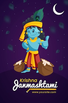 Banner criativo de krishna janmashtami e design de pôster