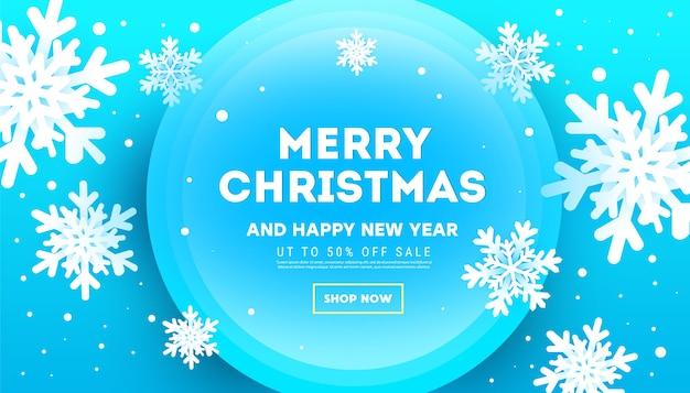 Banner criativo de natal com flocos de neve volumétricos e decoração com glitter
