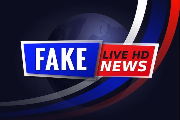 Banner criativo de notícias falsas para televisão ao vivo