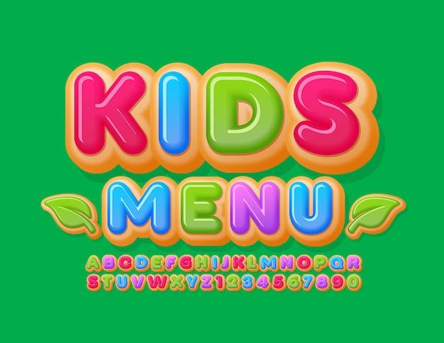 Banner criativo do vetor menu de crianças com folhas decorativas. fonte vitrificada colorida. letras e números do alfabeto bolo rosquinha brilhante