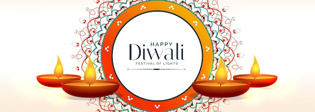 Banner criativo feliz diwali com lâmpadas diya
