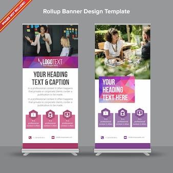 Banner cumulativo roxo e azul poligonal