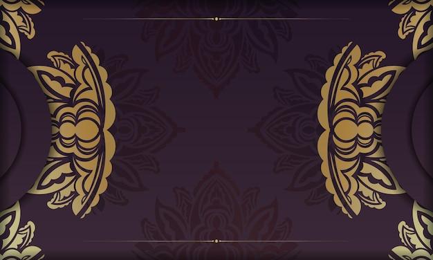 Banner da borgonha com luxuosa ornamentação em ouro e espaço para texto