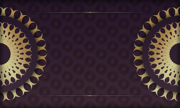 Banner da borgonha com luxuoso padrão dourado e espaço para seu logotipo ou texto