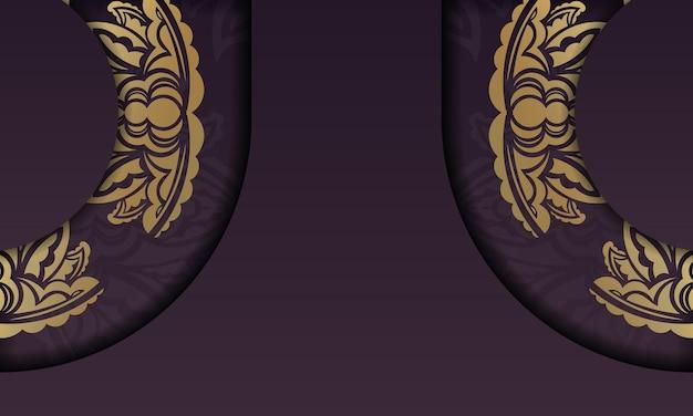 Banner da borgonha com padrão de mandala dourada e lugar para texto