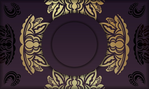 Banner da borgonha com padrão de ouro indiano e espaço de texto