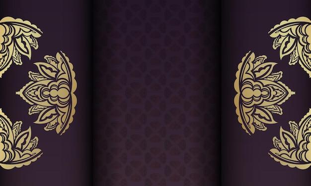Banner da borgonha com padrão de ouro indiano para desenho sob o seu texto