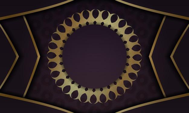 Banner da borgonha com padrão dourado antigo e espaço para seu logotipo ou texto