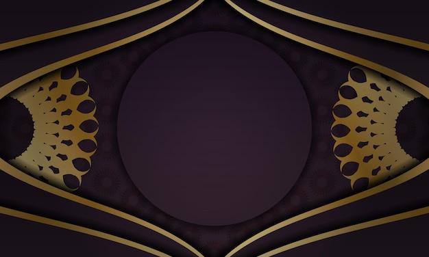 Banner da borgonha com padrão dourado vintage e espaço para seu logotipo ou texto