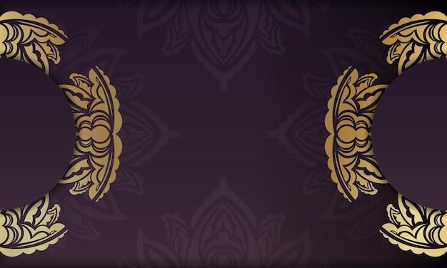 Banner da borgonha com padrão ouro vintage e espaço de texto