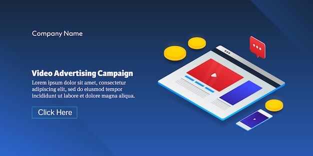 Banner da campanha de publicidade em vídeo