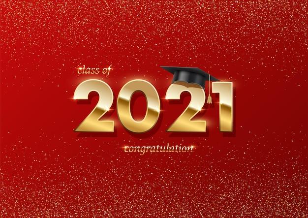 Banner da cerimônia de formatura de 2021 e conceito de prêmio com chapéu acadêmico