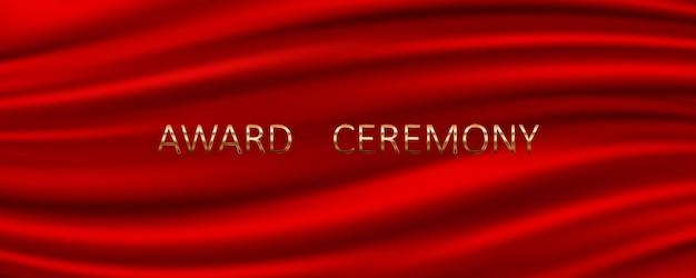 Banner da cerimônia de premiação com fundo de seda vermelha